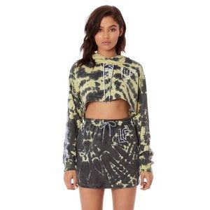Tie Dye LF Brand Tracker Cropped Lace Up Hoodie